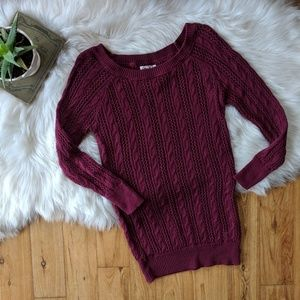 SO open knit burgandy sweater